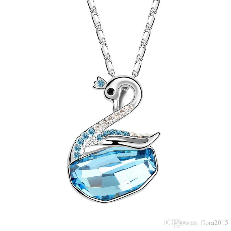 top quality famous brands design jewelry for wedding party gold color filled swan pendant necklace made with Swarovski elements crystal