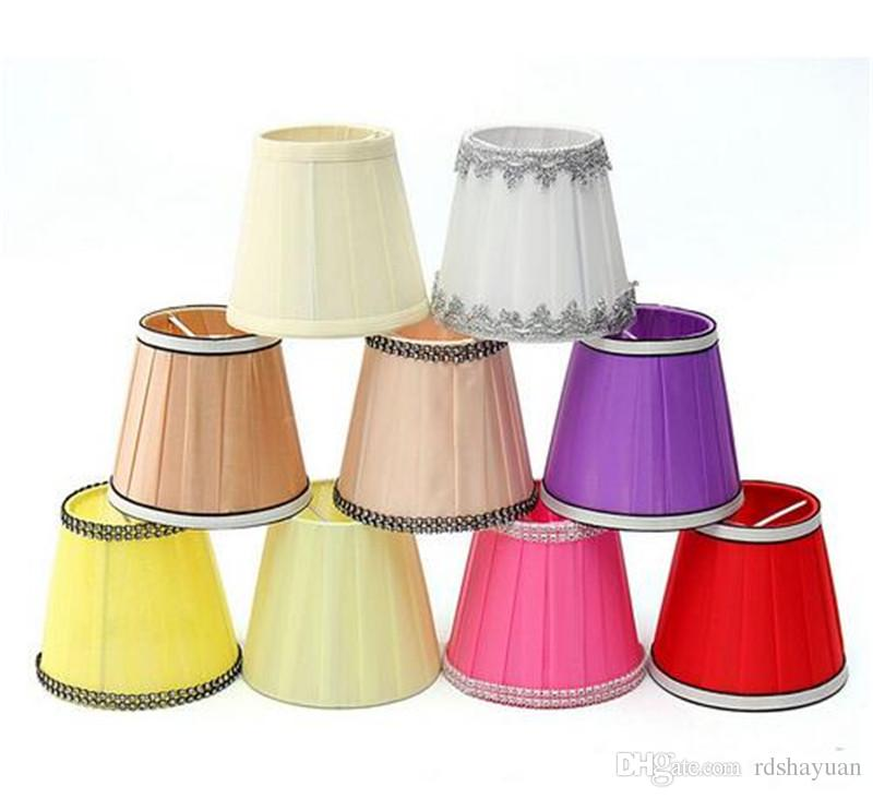 Großhandel 12 Cm Moderne Stoff Colth Kronleuchter Lampenschirme Halter Clip  Auf Wandleuchte Tisch Neben Bett Lampe Hängen Licht Lampenschirm 9 Farben  ...