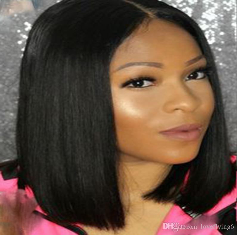 Krótki symulacja peruki w stylu Bob Ludzkie Wigs Włosy jedwabiste proste Krótkie Peruki w stylu Bobu Środkowej części w magazynie