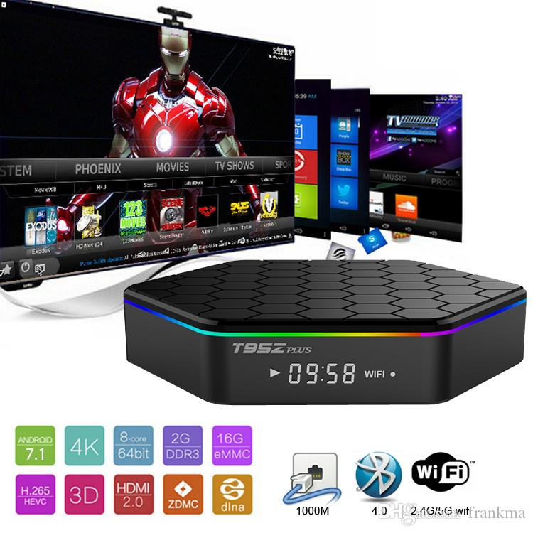 T95Z Plus Android 8.1 Smart TV Box Amlogic S912 Octa-core 2+16GB 3+32GB 5G Wifi Bluetooth Android TV Box