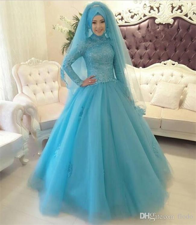 Discount Modest High Neck Light Blue Lace Applique Muslim Wedding ...