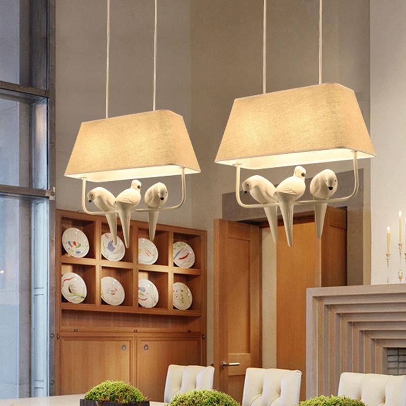 Pássaros luzes pingente lâmpada do vintage resina pássaro tecido abajur para iluminação da cozinha sala de jantar retro loft pingente lâmpada