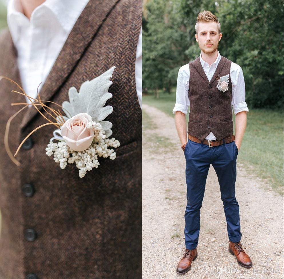 2021 Çiftlik Koyu Kahverengi Damat Yelekler Yün Herringbone Tüvit Custom Made Groomsmen Kıyafet Slim Fit Erkek Elbise Balo Düğün Yelek Artı Boyutu