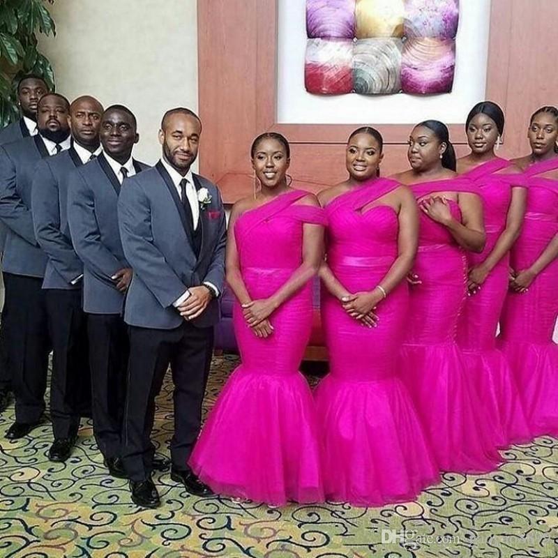 Africano Fushia Sereia Vestidos de Dama de Honra para a Menina Negra Plus Size Um Ombro Tule Vestidos de Dama de Honra Vestidos de Convidado Do Casamento Do Comprimento De Honra