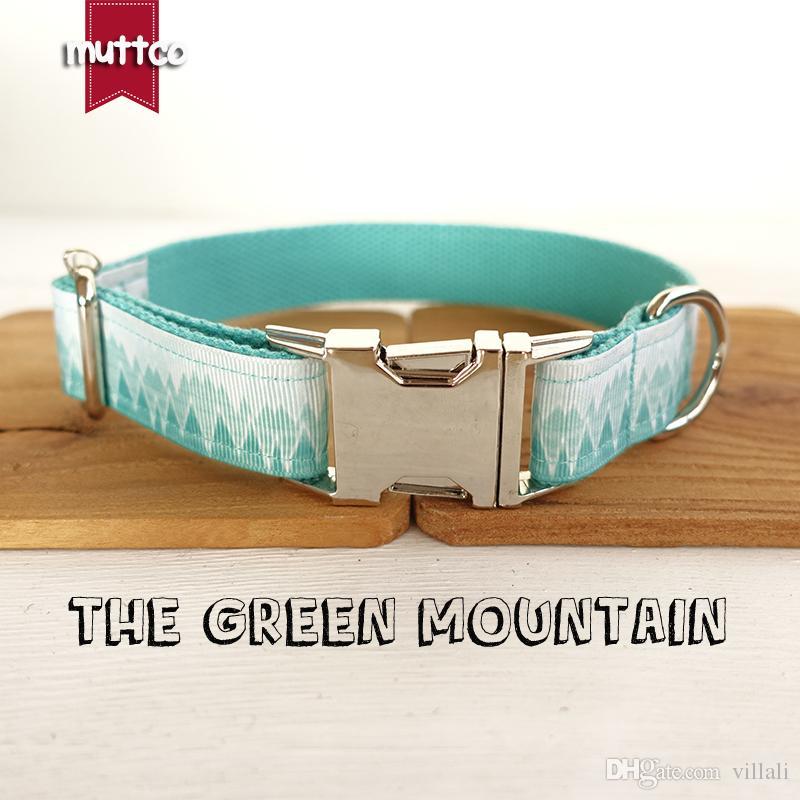 MUTTCO collier de style frais de vente au détail LE GREEN MOUNTAIN collier de chien imprimé 5 tailles UDC015