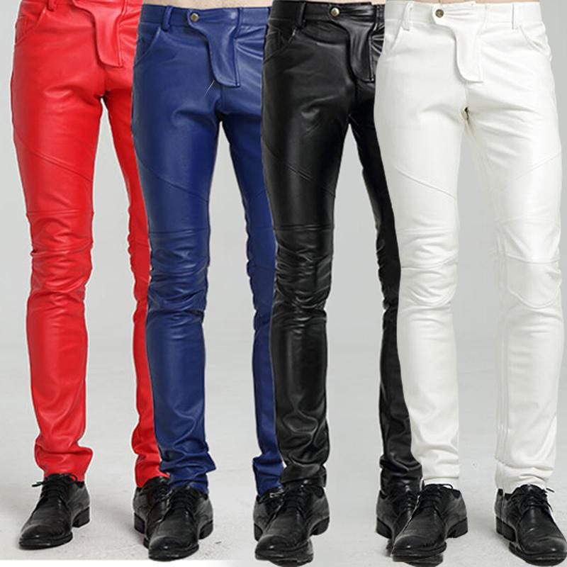 2019 professional popular brand online store 2019 Wholesale Winter Fleece Lined Sexy Tight Blue White Red Motorcycle  Leather Pants Men Black Skinny Biker Trouser PU Leather Jogger For Men From  ...