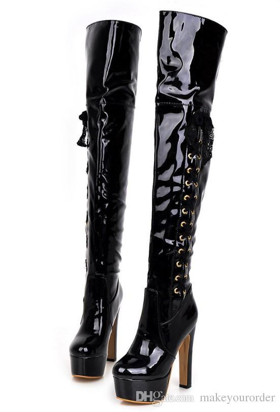 2017 free shipping patent leather pole dancing Boots high heel pole dancing Thigh-High Fabric Boots Fashion Boots 292