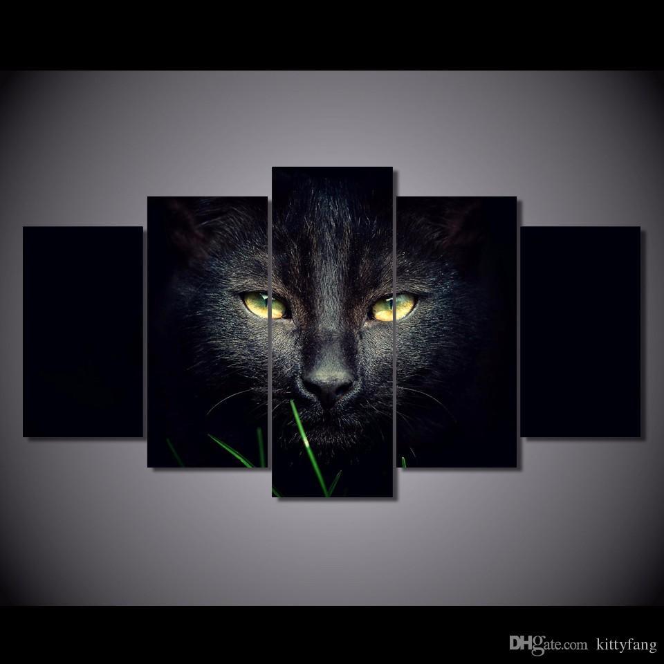 2019 Framed Hd Printed Black Cat Animal Wall Art Canvas Print Poster