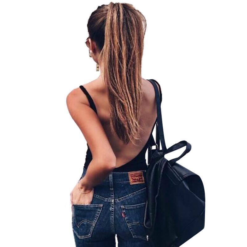 2017 Summer 95% Cotton Women Bodysuit Top Sexy Romper Club Jumpsuits Solid Lady combinaison short crop top black white T0643