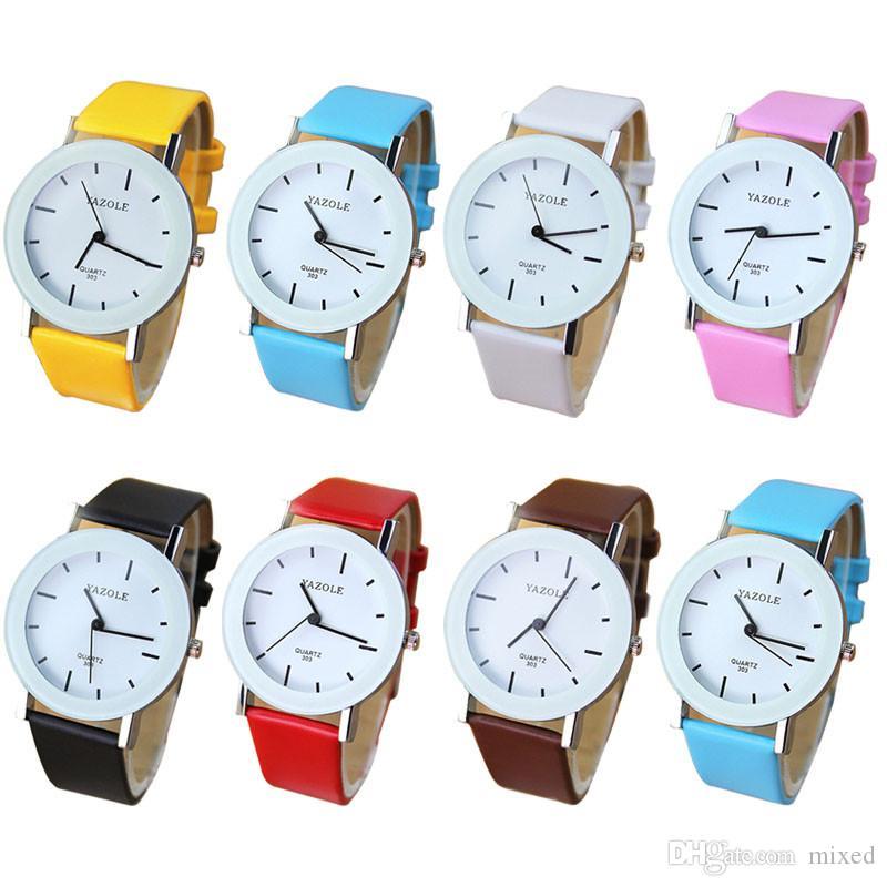 YAZOLE 303 Модные Наручные Часы Модный Уникальный Кожаный Ремешок Для Часов Новые Случайные Женщины Кварцевые Платье Часы Бесплатная Доставка