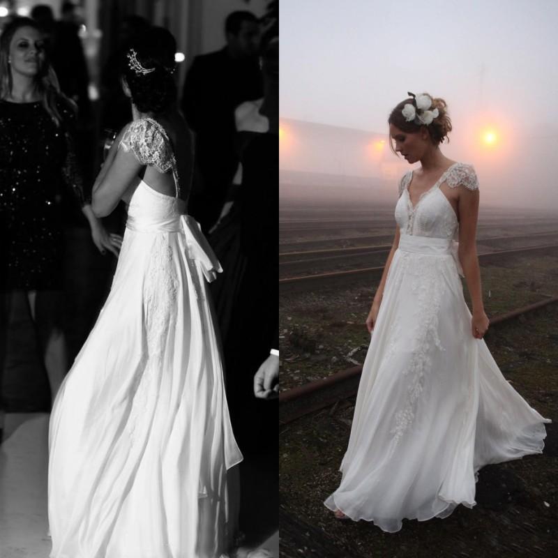Impressionante País Vestidos de Casamento A Linha de Cintas Sexy Backless Frisada Lace Apliques de Vestidos De Noiva com Sash Capped Ombro Custom Made