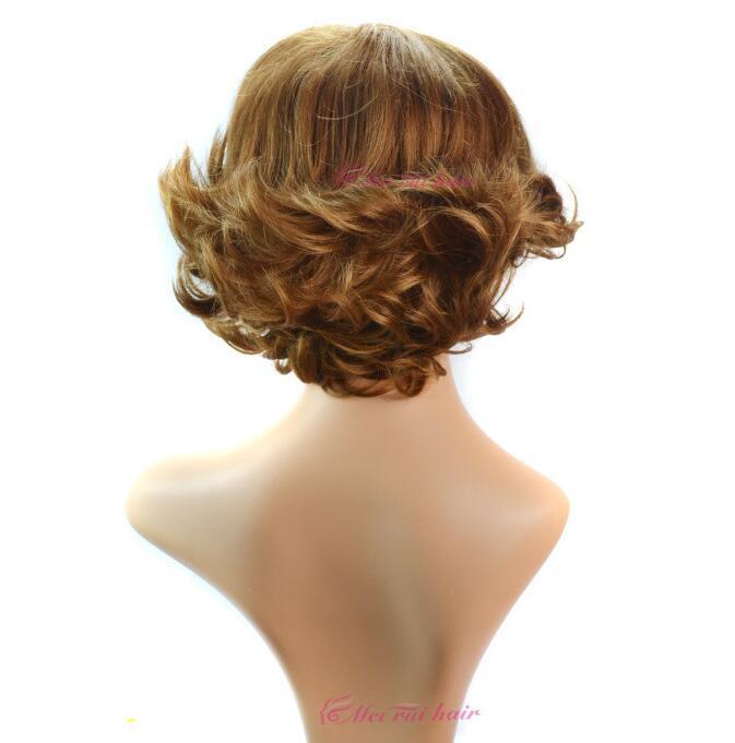 Trasporto libero 2016 alla moda parrucca riccia marrone chiaro sintetica delle donne di Kanekalon di 28cm alla moda