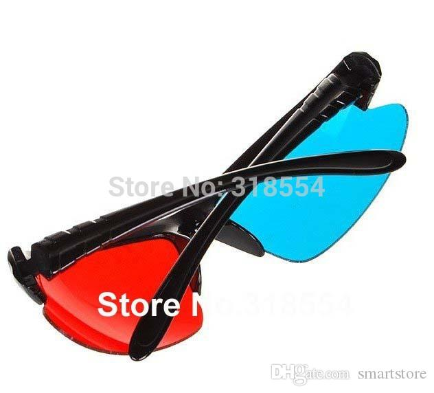 Free Shipping 500pcs/lot Stylish Reuseable Plastic Frame Red Blue Cyan 3D Glasses Half Frame Lens Glass 0001