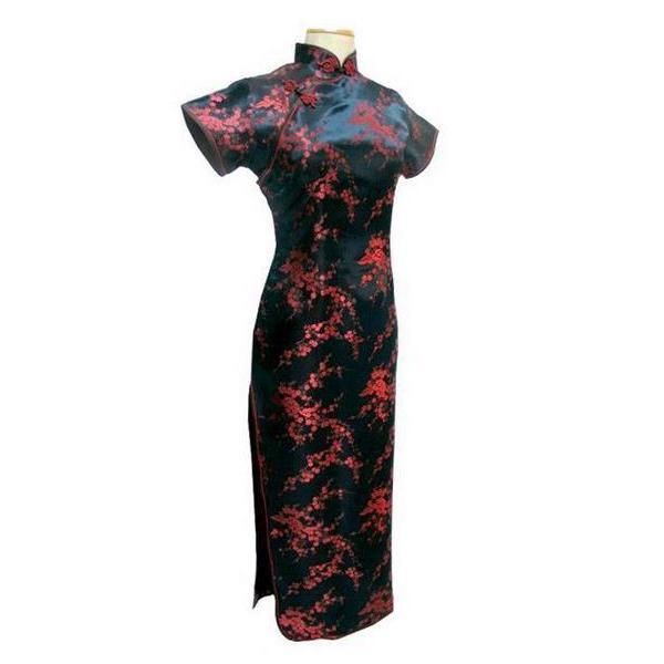 Al por mayor- Tang Show negro rojo vestido tradicional chino Satén de seda Qipao Long Cheongsam flor más tamaño 4XL 5XL 6XL YQ2089