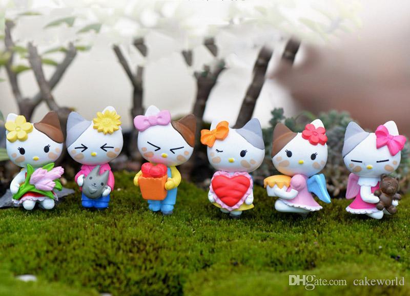 6pcs Cartoon Angel Cat miniatura giardino terrario figurine gnome figuras decorativas casa delle bambole fai da te