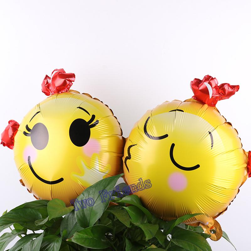 Smiling Face Love Kiss Siamese foil balloons 30pcs air filled globos decorations for wedding birthday party ballons wholesale