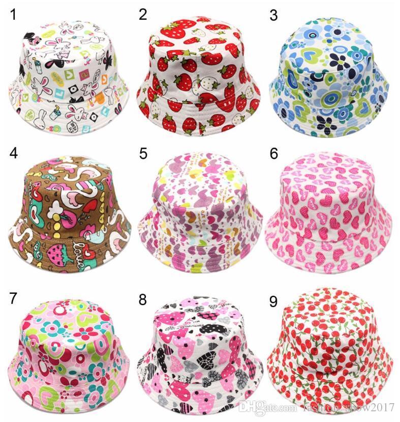 Nuevo 36 colores para niños Flor Bucket Hat Temperamento Ocio Sunny Child Sun Hat para niños de 2-6 años