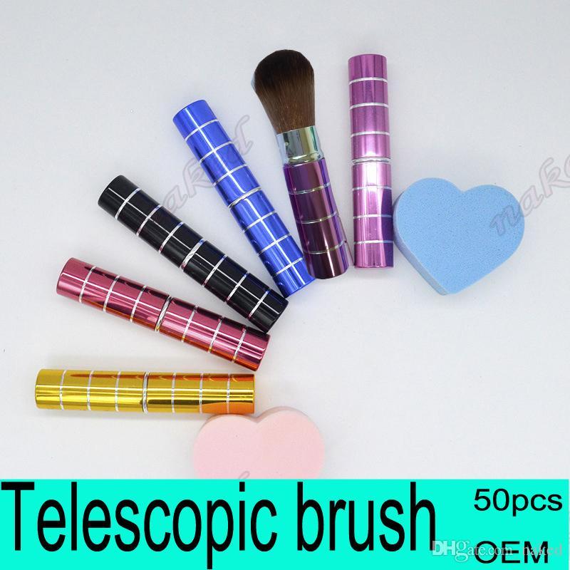 Pennello per trucco con tubo rossetto Design telescopico per borsa da trasporto, spazzolino per polvere speciale Pennello cosmetico portatile per crema BB 6 colori