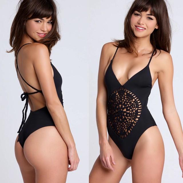 0f7eda32564 Women Crochet Cutout Bikini Summer Sexy Bodysuit Halter Swimsuit Beach One  Piece Swimwear Solid Bathing Suit