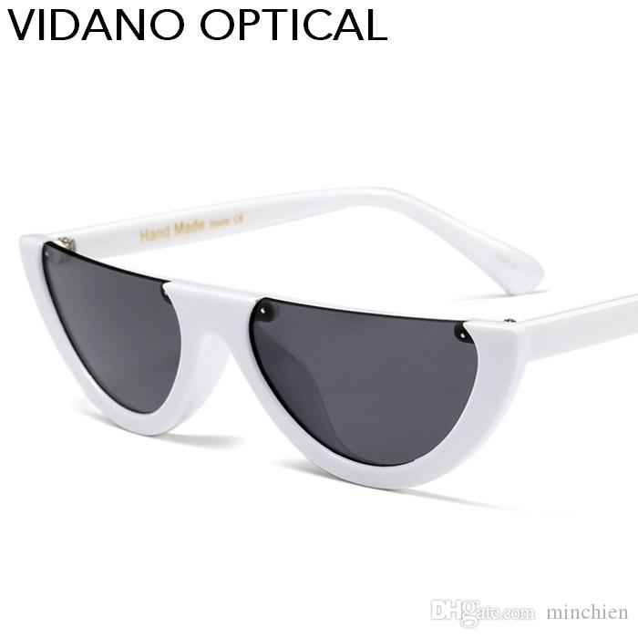Lunettes de soleil Vidano Optical High Fashion Flat Top à œil de chat pour femmes Hommes Lunettes de soleil à monture semi-moulante Lunettes de soleil unisexe