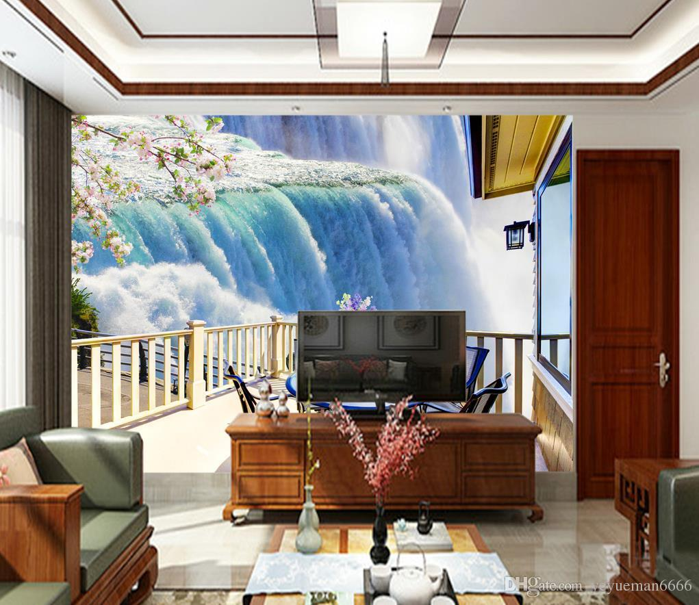 3D Backgrounds Waterfall Customized Mural Used For Bedroom ...
