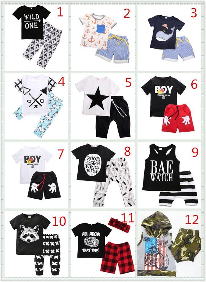 12 Stil Bebek Boys Giyim Butik Çocuk Giyim Seti Toddler Kıyafet Yaz Çocuk Takım Elbise Bebek Set 2 ADET Kısa Kollu Gömlek Pantolon