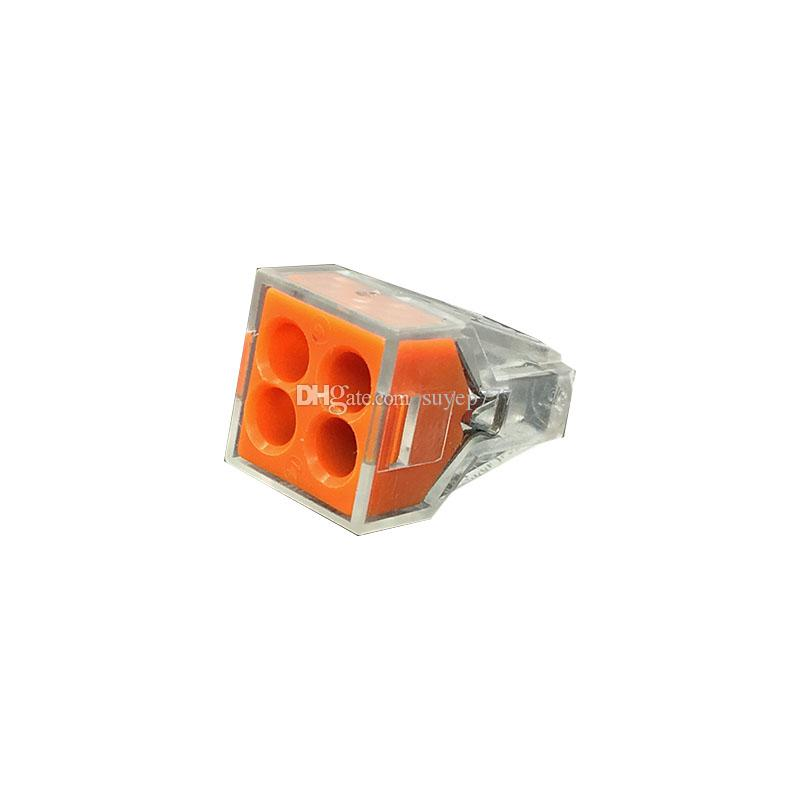 50PCS 773-104 PCT-104 Quick Wire Connector 4 pin Cable Terminal Block Connector 400V 18-12AWG Push in wire orange