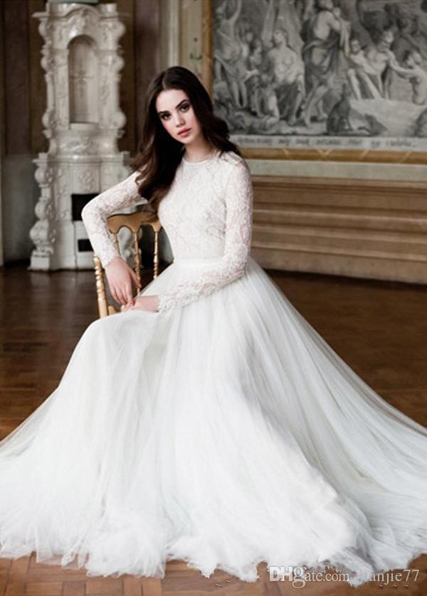 Cheap 2017 A-Line Modest Lace Wedding Dress With Jewel Neck Covered Button Back Long Sleeve Wedding Dresses Bridal Gowns Plus Size Custom