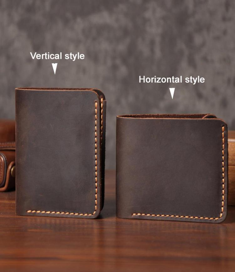 fe01845116a4 2017 Handmade Vintage Crazy Horse Genuine Leather Wallet Men Wallet Leather  Men Purse Clutch Bag Male Purse Money Clips Money Bag