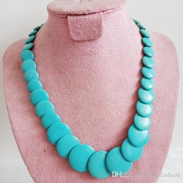 Natural Stone Necklaces Fantastic Huge Multilayer Turquoise Necklace Baroque Sheets Chunky Flake Summer Irregular Choker Necklace Jewelry
