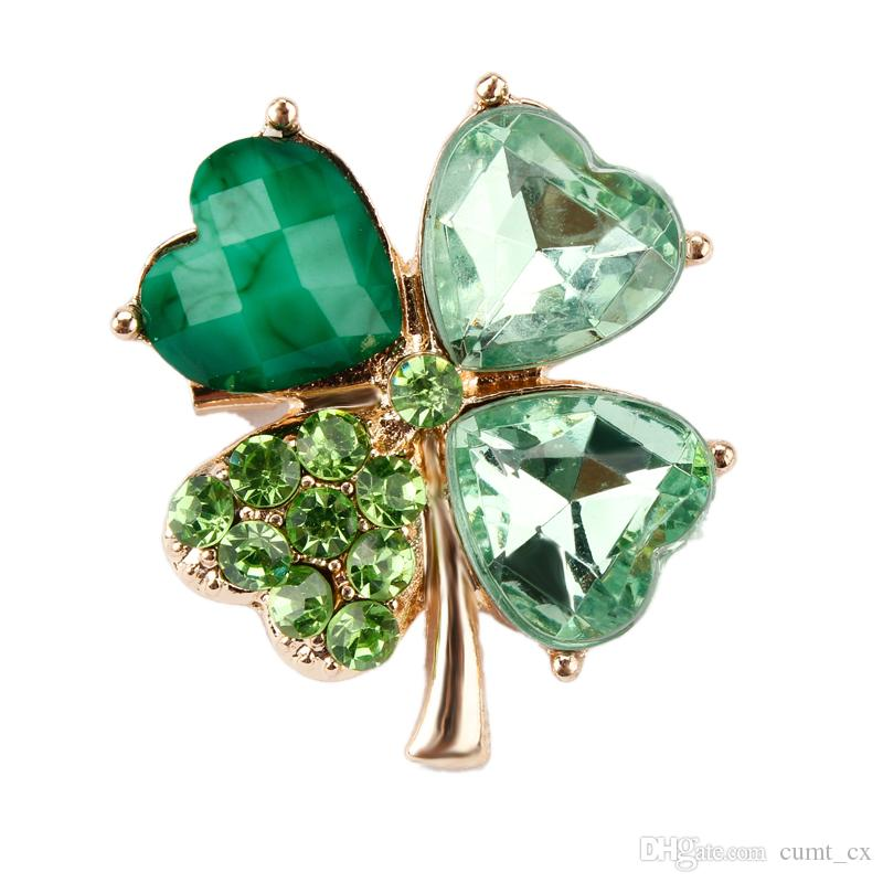 Verde trébol de cuatro hojas y pernos o broches de la solapa de los Rhinestones para las mujeres o los hombres en diseños clasificados Envío libre