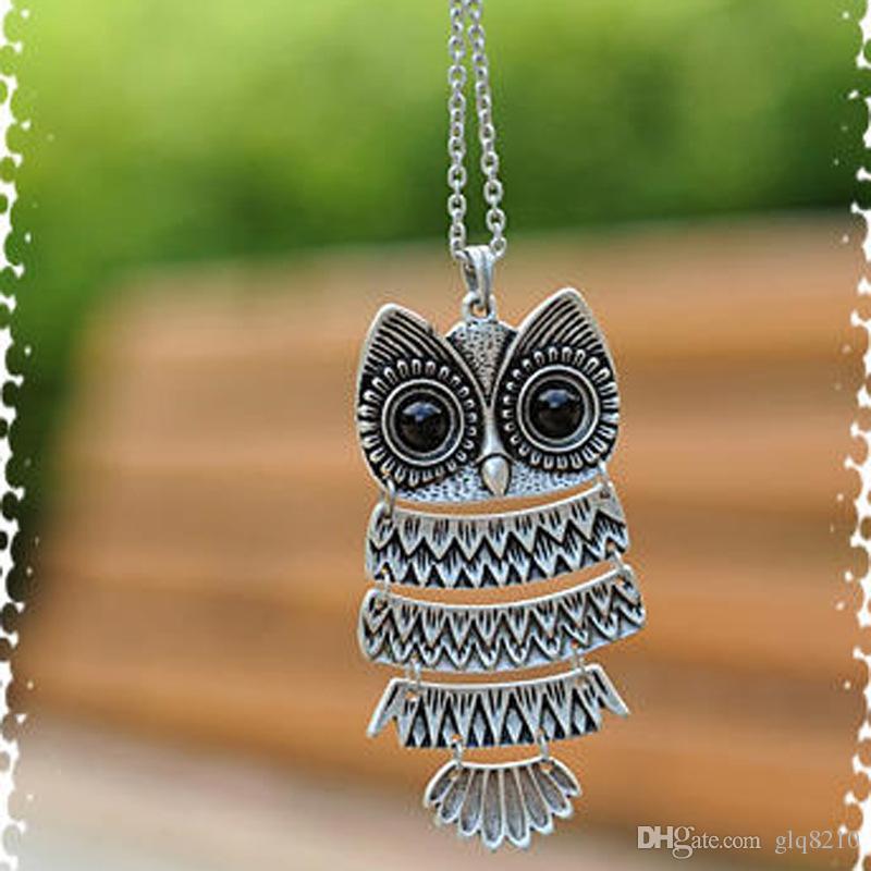 Élégant Vintage Owl pendentif collier longue chaîne de chandail Femmes Bijoux Bronze argent prix usine cadeaux de Noël 36pcs / lot