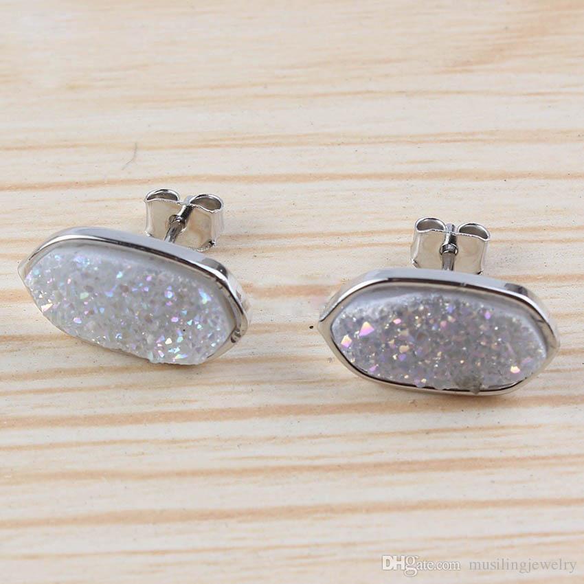 Musiling Takı Doğal Kristal Druzy Küpe Damızlık Geometrik Küpe Gümüş Kaplama Takılar Kadınlar Için Kulak Aksesuarları Takı