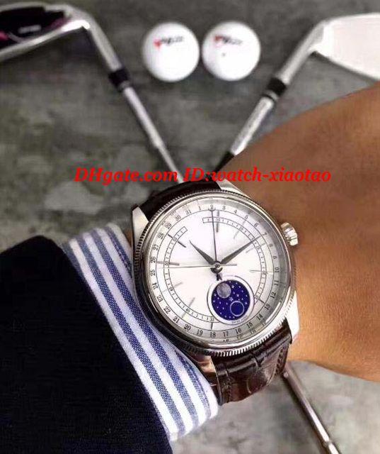 Relojes de lujo Nuevo 18k Oro Blanco Dial 39mm Modelo de fase lunar de los hombres M50525-0002 Marca de moda automática Reloj de pulsera para hombre