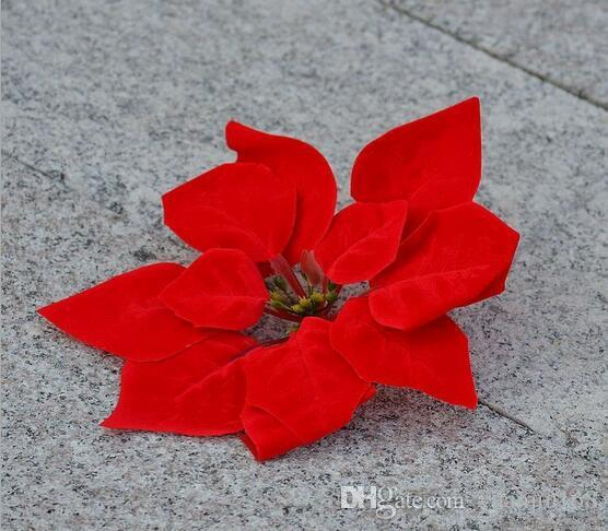 Simulation Christmas flower simulation flannel poinsettia flower golden silver christmas flower