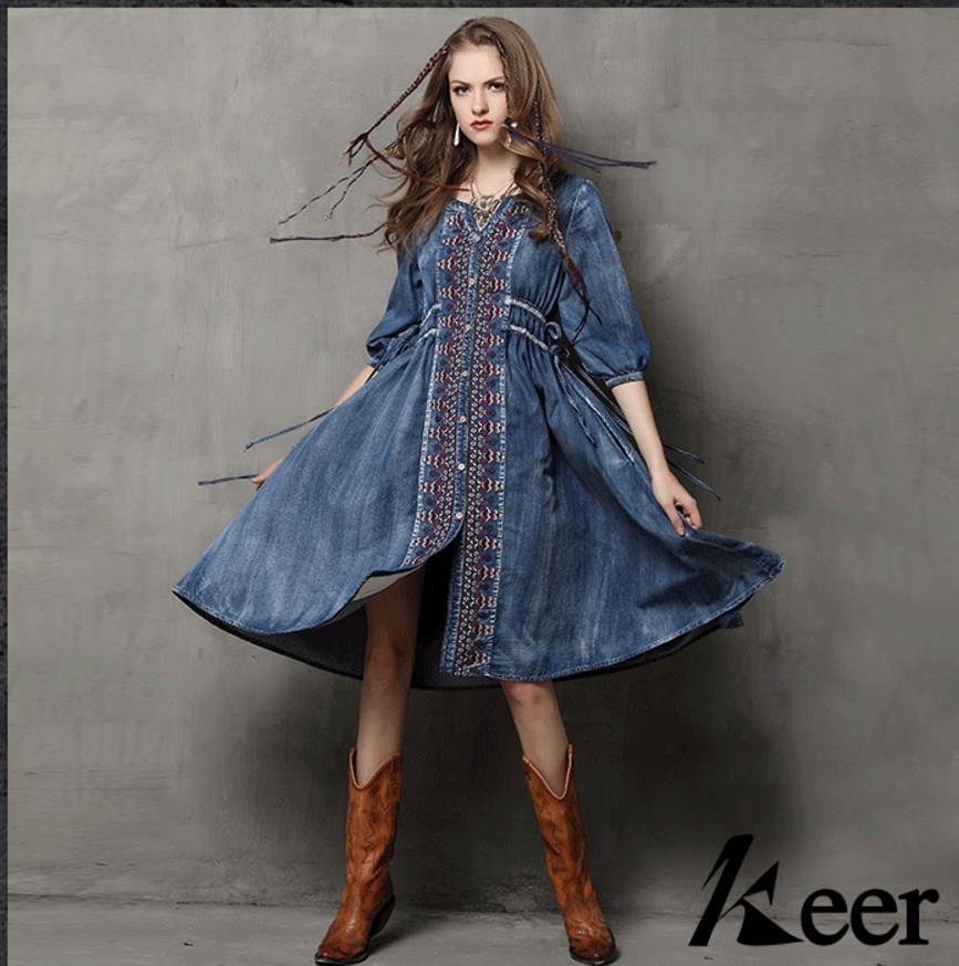 Blue Denim Dress Women Embroidery Ethnic Style V Neck String Design Sexy Slim Fit For Women Long Dresses Free Ship 1/2 Sleeve 2017 Fashion