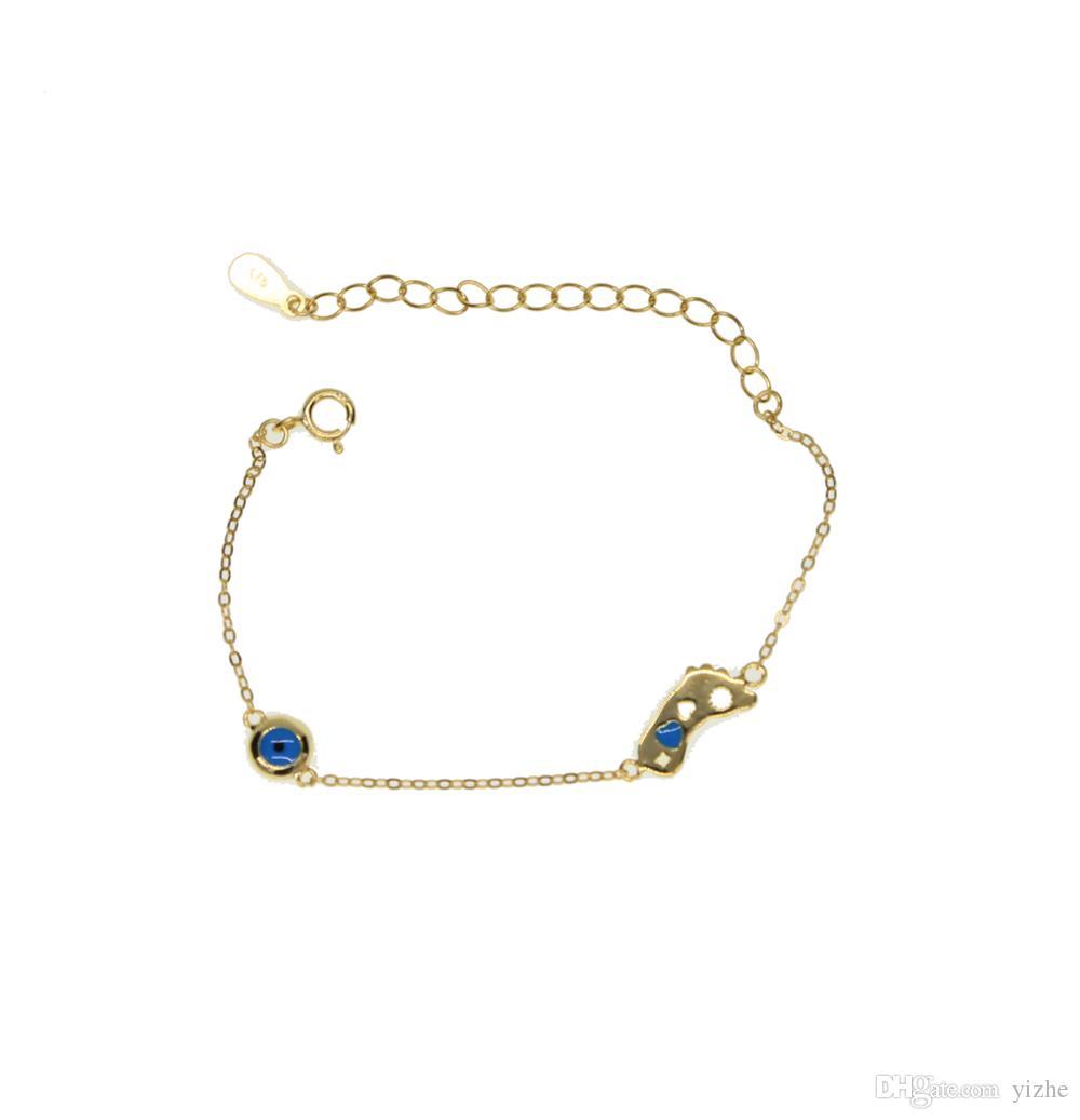 925 Silver Baby Bransoletka z stóp oko urok złącze urok bransoletka biżuteria na prezent urodzinowy rodzina miłość biżuteria z prawdziwym srebrem
