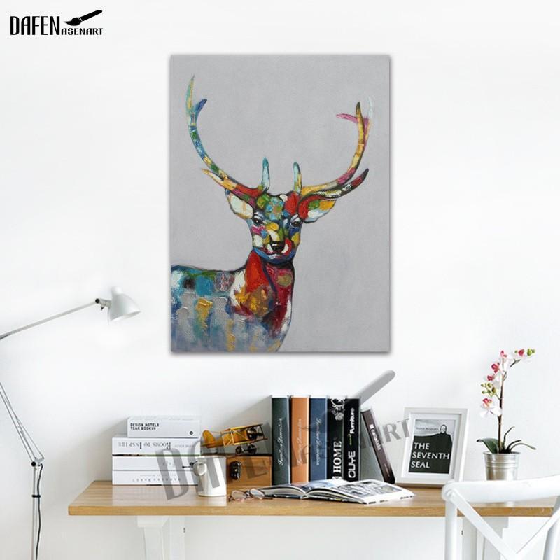 Compre Happy Sika Deer 100% Pinturas Al Óleo Pintadas A Mano De ...