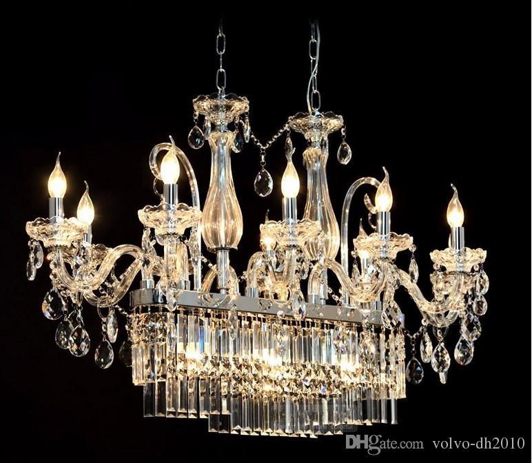 Muhteşem Dikdörtgen Kristal Avize Işık Fikstürü 13 Işıkları Cam Avize Aydınlatma Cilası Asılı Yemek odası damla Lamba LLFA