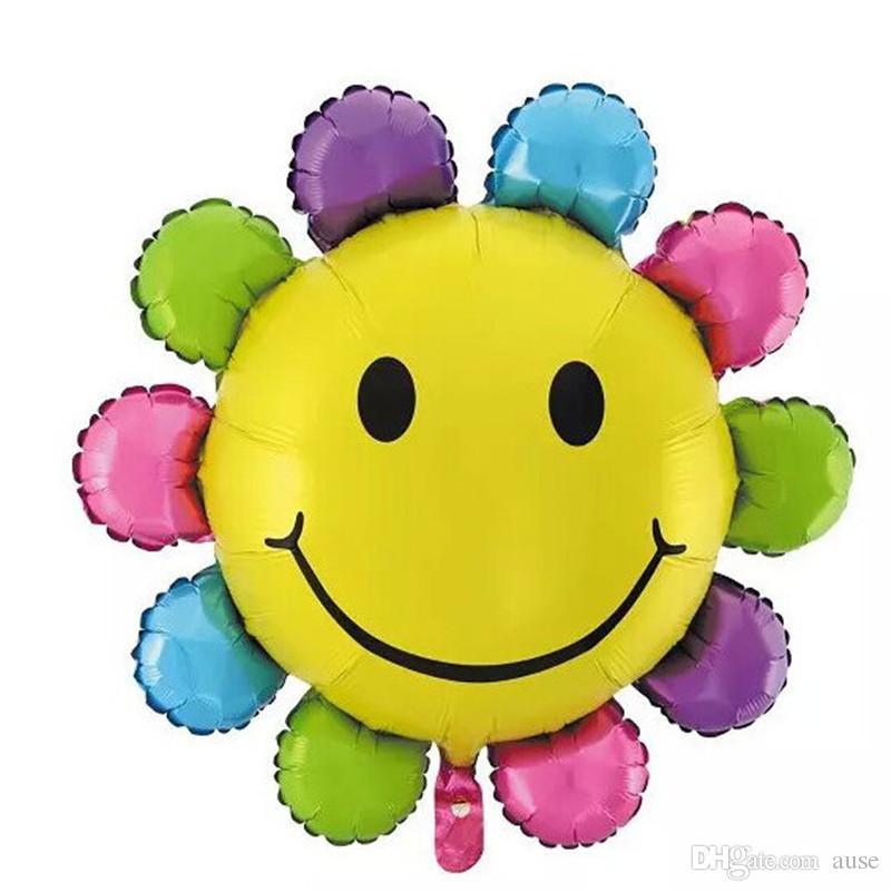 XXPWJ Envío gratis 1 unids colorido sonrisa girasol globo suministros para fiestas globos Globos de cumpleaños de aluminio