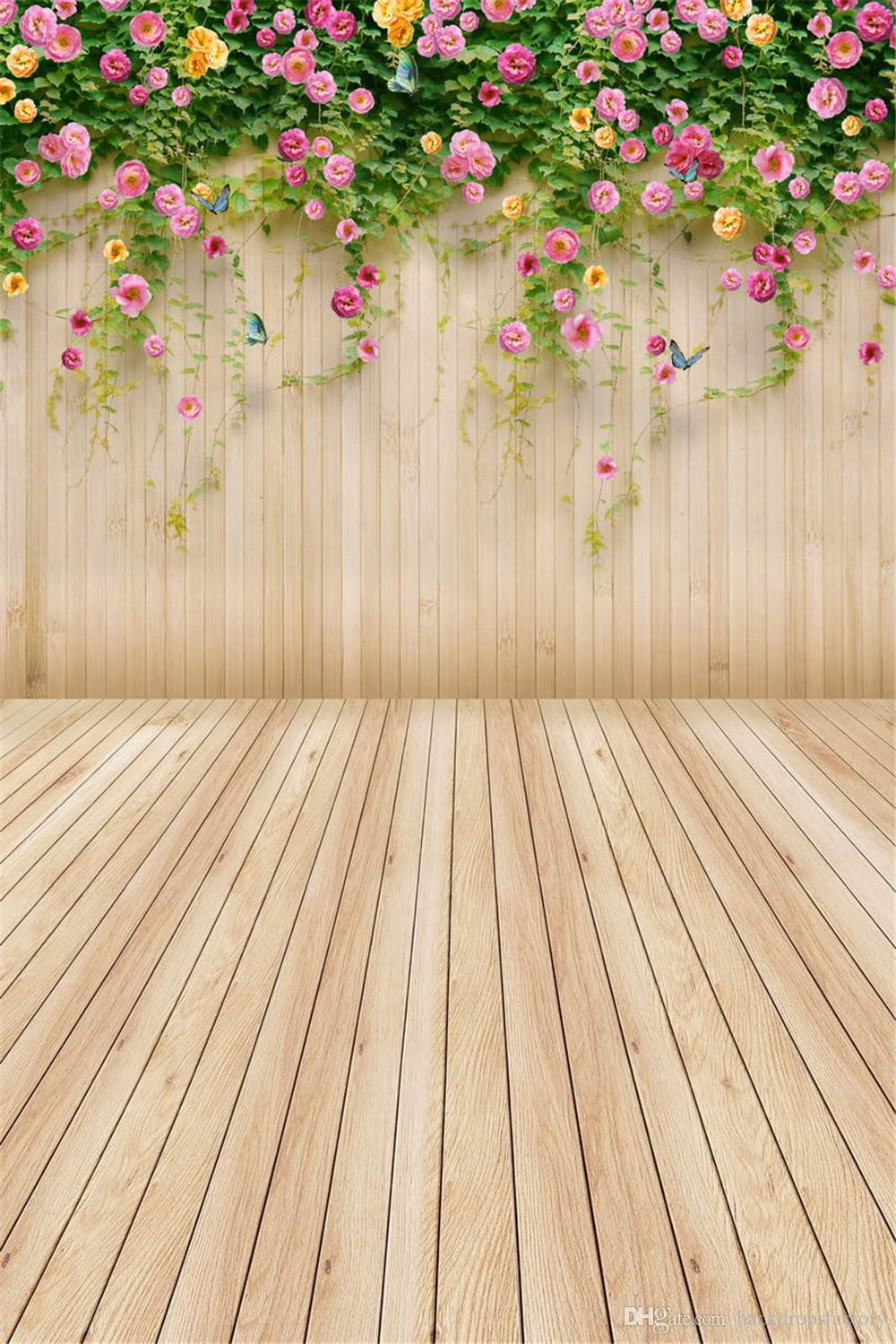 2019 Pink Yellow Flower Children Kids Spring Background Green Vines Wood Wall Floor Photography Backdrop Plank Baby Newborn Photo Shoot Wallpaper From