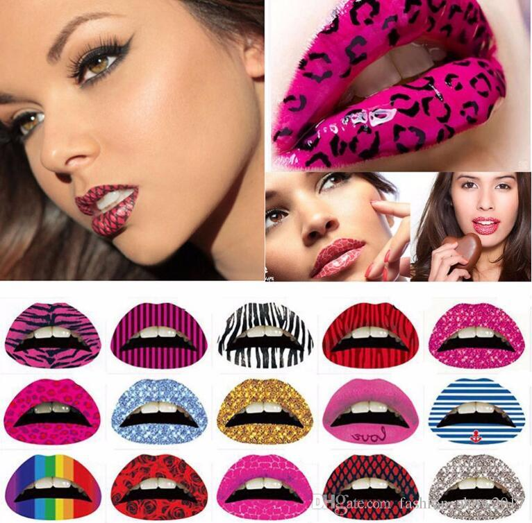 Temporäre Lippe Tattoo Aufkleber Lippenstift Kunst Transfers Kuss Lippen Body Art Beauty Makeup Wasserdichte Tattooaufkleber