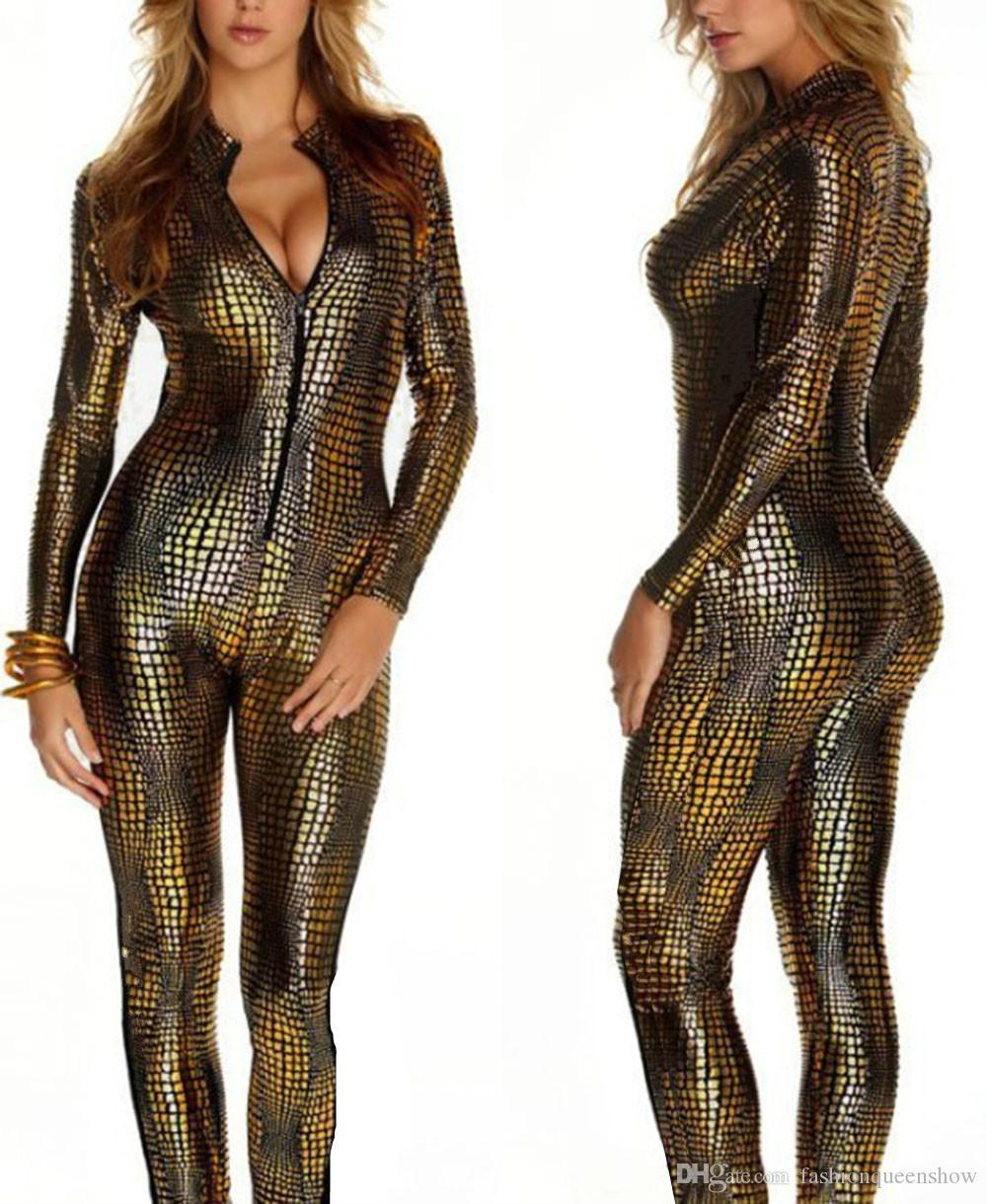 3 Colori Novità Snakeskin Costume Delle Signore Sexy Faux Leather Catsuit Gioco Cosplay Gothic Zipper Up Tuta Ragazza Discoteca Vestiti Da Ballo