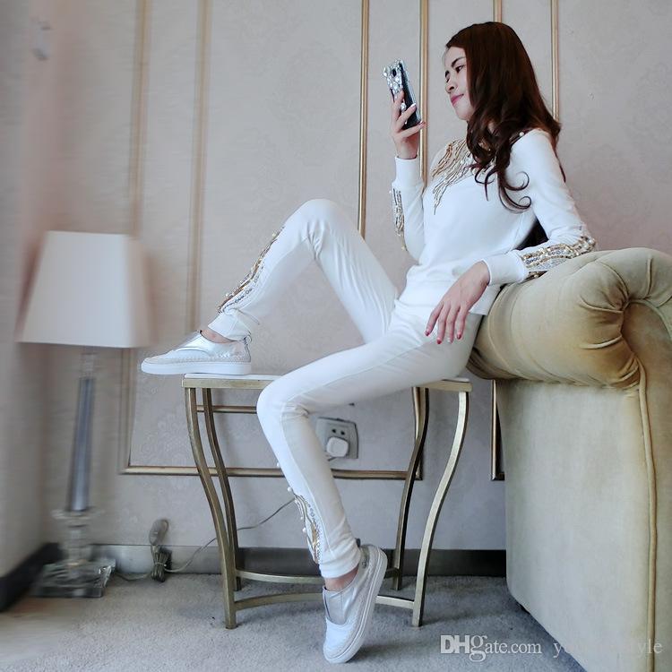 Горячая распродажа ! Европейский новый свитер с длинным рукавом досуг костюм с блестками женские спортивные наборы костюм спортивный костюм