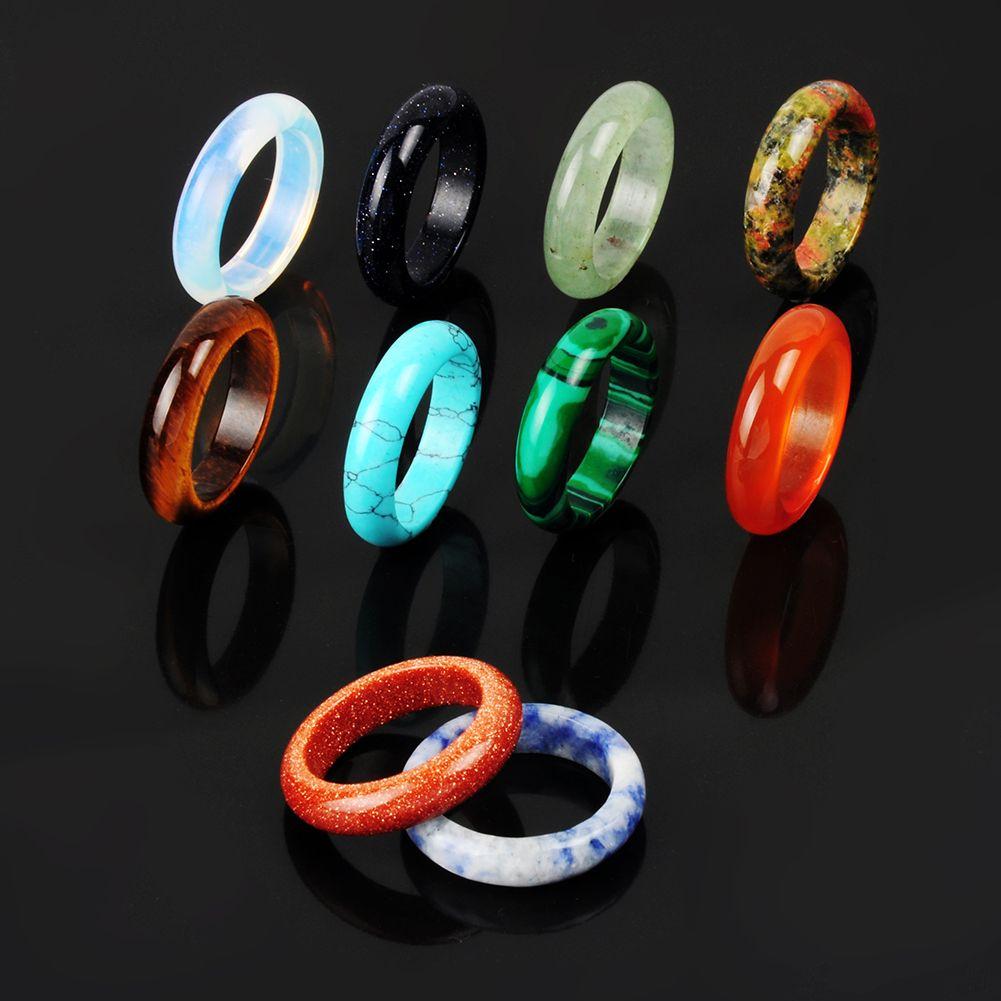 Natural Stone Rings Mixed Random Colors Quartz Green Turquoise Tiger's Eye Malachite Rock Druzy Drusy Ring Vintage Band Ring For Woman Man