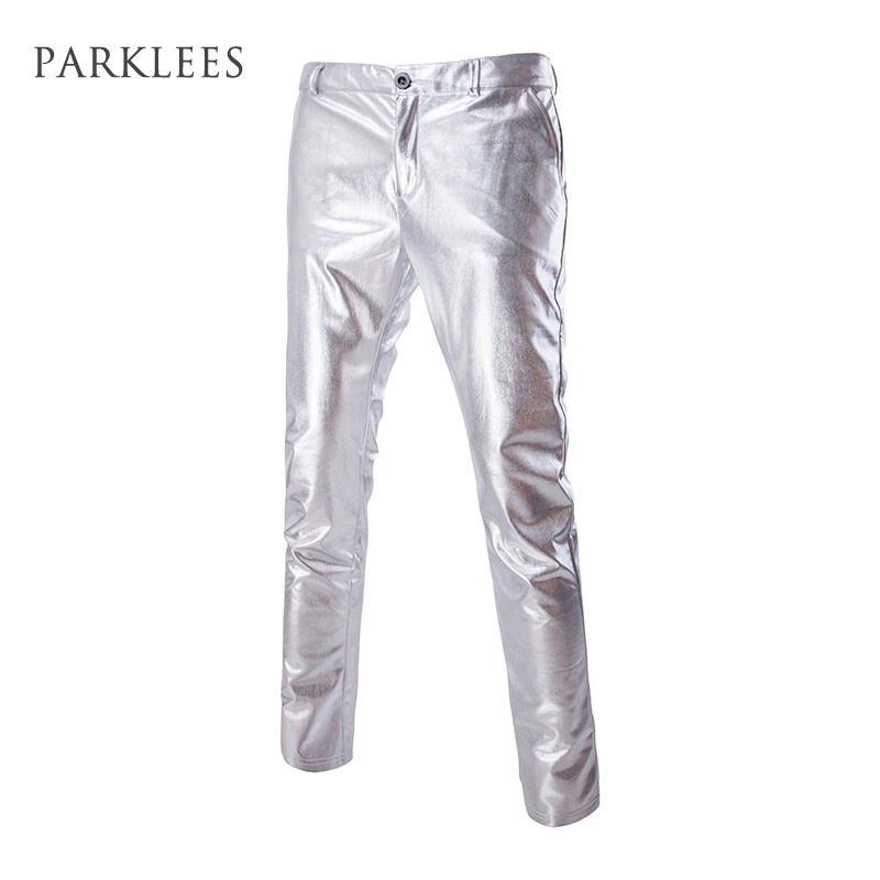 Toptan-Erkek Casual Gece Kulübü Metalik Altın Düz Ön Takım Elbise Pantolon Casual Slim Fit Düz Bacak Pantolon Hip Hop Sahne Kostümleri Şarkıcılar