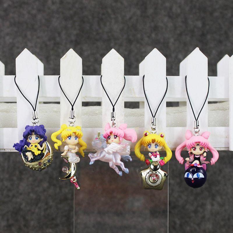 Anime Sailor Moon Tsukino Usagi Keychain Pendant PVC Action Figure Toy with Rope free shipping retail