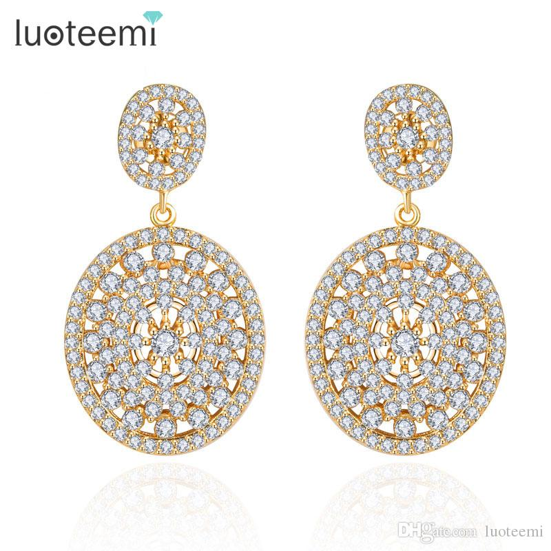 LUOTEEMI New Brincos High Quality Two Oval Shining Crystals CZ Stud Bridal Party earrings for women White /Champagne Gold-Color
