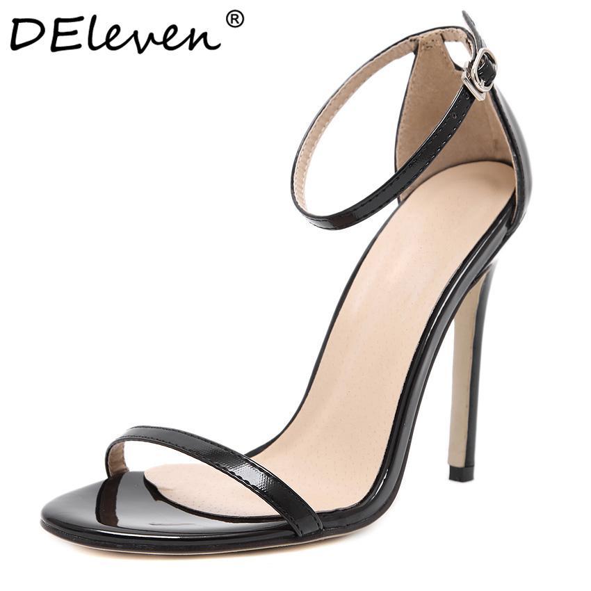 Fashion Classics Nom de marque ZA R Peep toe Piège à boucle Talons hauts Sandales Chaussures Femme Noir Blanc Rouge Chaussures De Mariage Usine US10