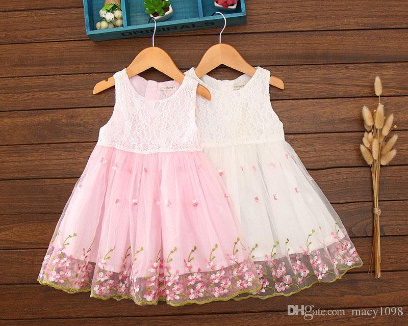 Compre Hermosas Flores De Princesa Vestido De Encaje Niños Bebé Niña ...